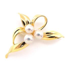 Mikimoto 18K Yellow Gold & Pearl Brooch
