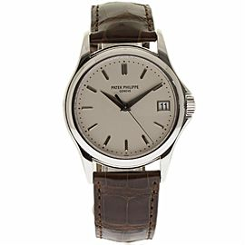 Patek Philippe Calatrava 5227G 18K White Gold & Leather Ivory Dial Automatic 39mm Mens Watch
