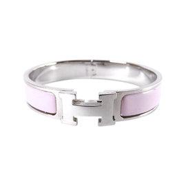 Hermes Clic Clac PM Silver Tone Hardware & Enamel H Bangle Bracelet