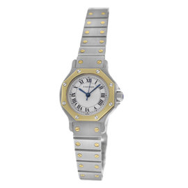 Cartier Santos Octagon Stainless Steel & 18K Yellow Gold Automatic 25mm Womens Watch