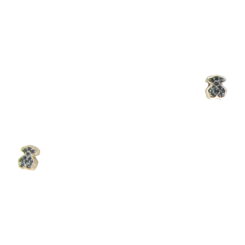 "Image of ""Tous 18K Rose Gold Plated 925 Sterling Silver Bear Motif Black Spinel"""