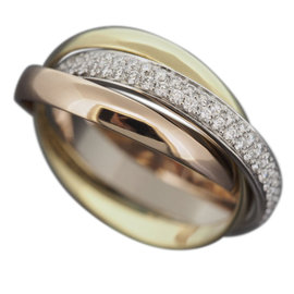 Cartier 18K Yellow, Rose & White Gold Bands Trinity 0.45ct. Diamond Ring Size 5.25