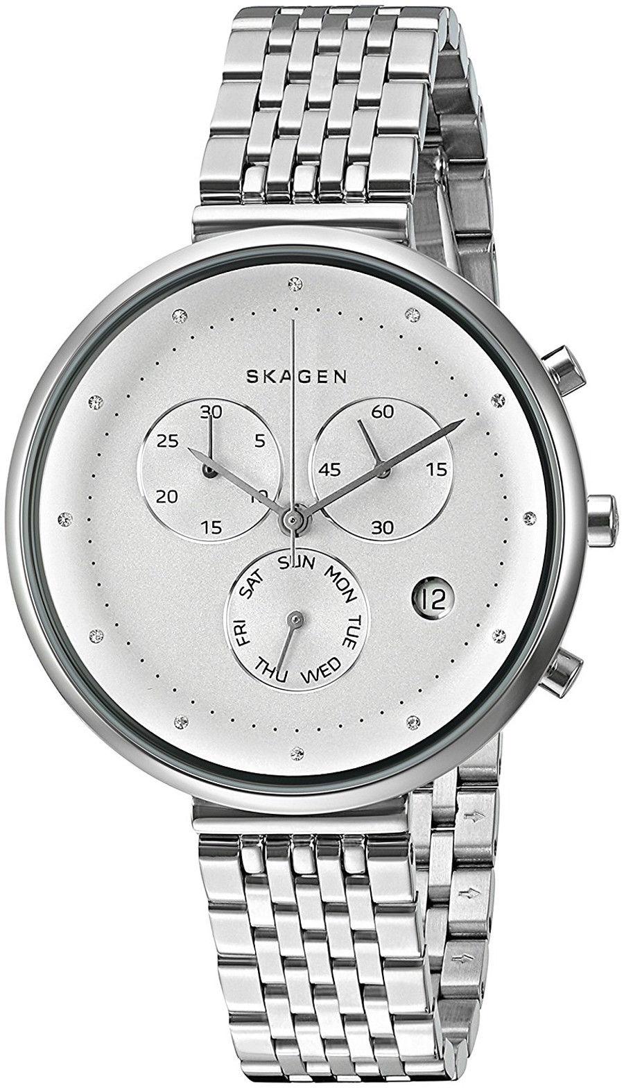 """Image of """"Skagen Skw2419 Stainless Steel Gitte White Dial Quartz 38mm Women's"""""""