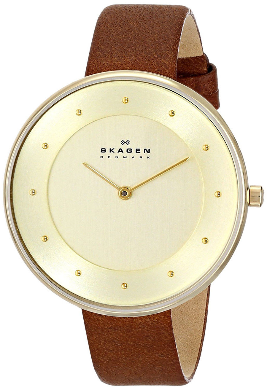 "Image of ""Skagen Skw2138 Gold Tone Stainless Steel & Brown Leather Champagne"""