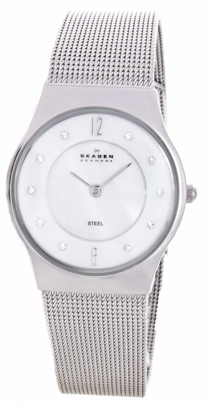 "Image of ""Skagen Denmark O233Sss1 Stainless Steel White Mother of Pearl Dial"""