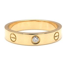 Cartier Mini Love Ring 1P Diamond 18K Yellow Gold Ring Size 7