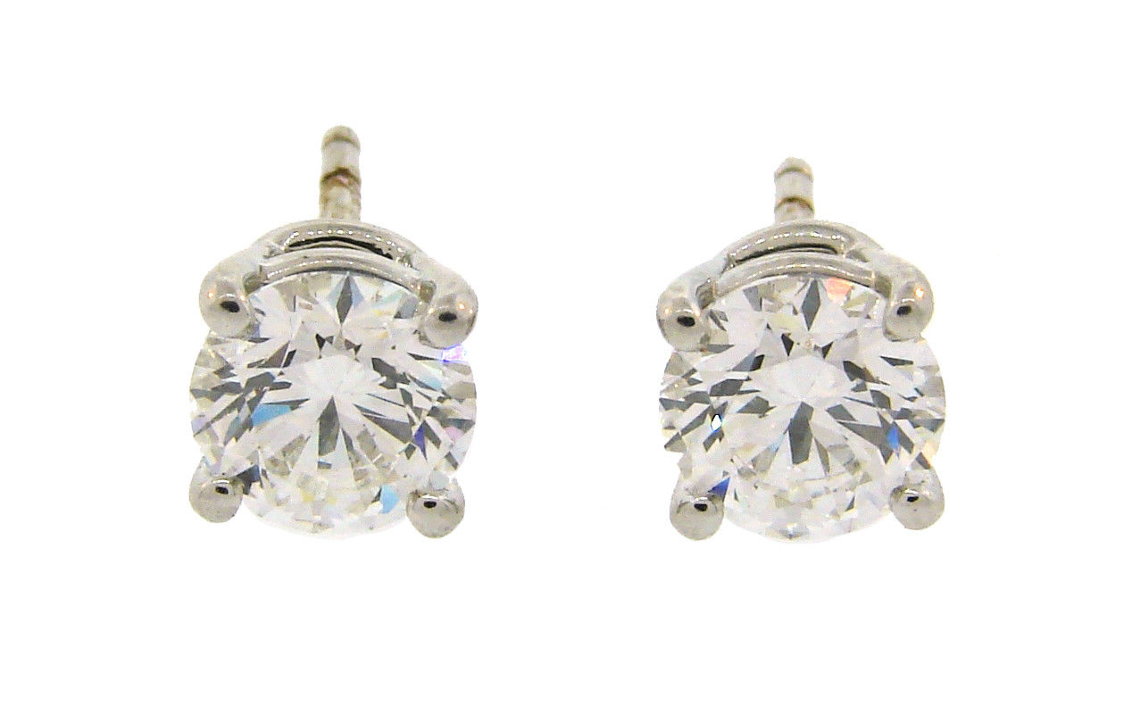 "Image of ""Tiffany & Co. Platinum 2.18cts Round Brilliant Cut Diamond Earrings"""
