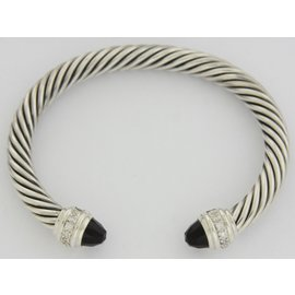 David Yurman 925 Sterling Silver with Onyx & 0.48ct Diamonds Cable Bracelet