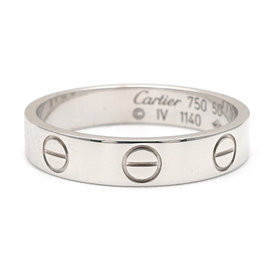 Cartier Mini Love 18K White Gold Ring Size 5.5
