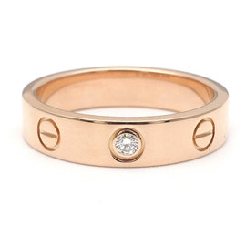 Cartier Mini Love 18K Rose Gold with Diamond Ring Size 6.5