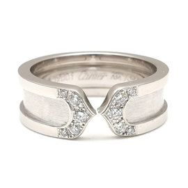Cartier 18K White Gold with Diamond 2C Ring Size 5