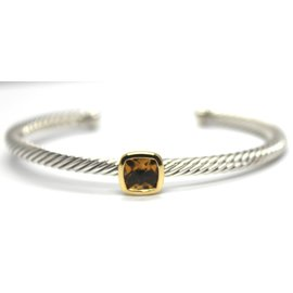 David Yurman 18K Yellow Gold & 925 Sterling Silver with Smoky Quartz Cable Cuff Bangle Bracelet