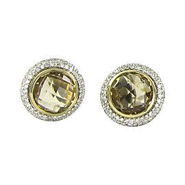 David Yurman 925 Sterling Silver & 18K Yellow Gold with 1.02ct Diamond & Citrine Earrings