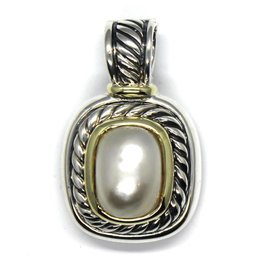 David Yurman 14K Yellow Gold & 925 Sterling Silver with White Mabe Pearl Albion Enhancer Pendant