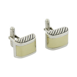 David Yurman Sterling Silver 18K Yellow Gold Cable Cufflinks