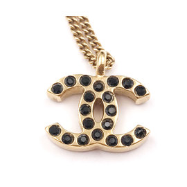 Chanel Gold Plated CC Black Crystal Pendant Necklace