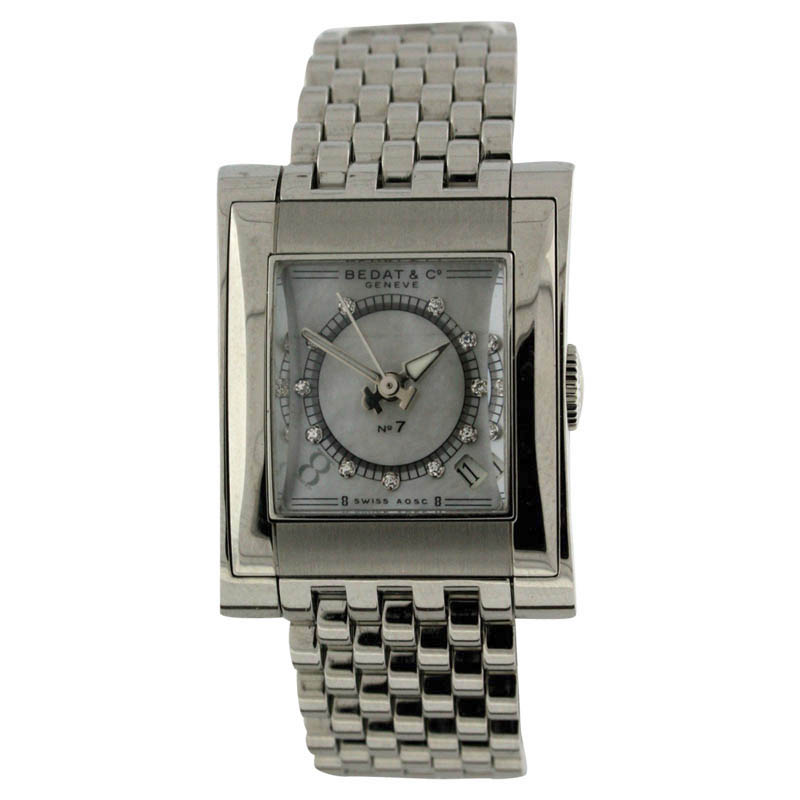 "Image of ""Bedat & Co. No.7 Stainless Steel Date Mother of Pearl Diamond Dial"""