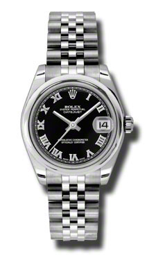 "Image of ""Rolex Datejust Steel Black Roman Dial 31mm Watch"""