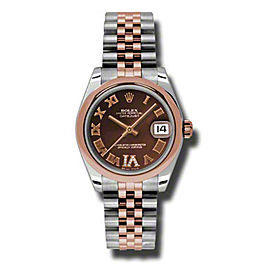 Rolex Datejust Steel and Rose Gold Chocolate Roman Dial 31mm Watch