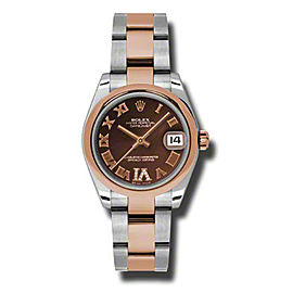 Rolex Datejust Steel and Rose Gold Chocolate Roman Diamond Dial 31mm Watch