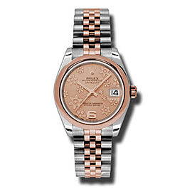 Rolex Datejust Steel and Rose Gold Pink Floral Dial 31mm Watch