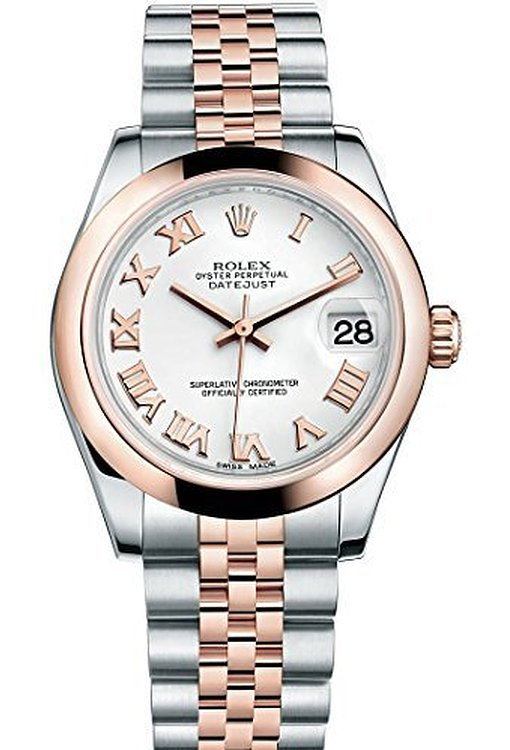 """Image of """"Rolex Datejust Steel and Rose Gold Silver Stick Dial 31mm Watch"""""""
