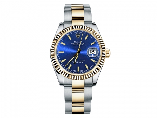 """Image of """"Rolex Datejust Steel and Yellow Gold Blue Stick Dial 31mm Watch"""""""