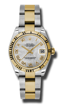 "Image of ""Rolex Datejust Steel and Yellow Gold Mother of Pearl Roman Dial 31mm"""