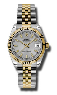 """Image of """"Rolex Datejust Steel and Yellow Gold Silver Stick Dial 31mm Watch"""""""