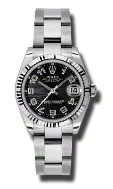 """Image of """"Rolex Datejust Steel and White Gold Black Diamond Dial 31mm Watch"""""""