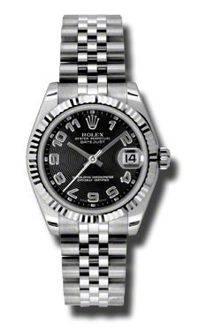 "Image of ""Rolex Datejust Steel and White Gold Black Concentric Arabic Dial 31mm"""