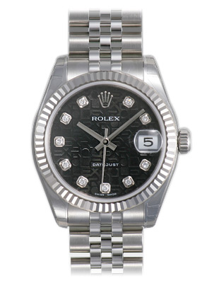"Image of ""Rolex Datejust Steel and White Gold Black Roman Dial 31mm Watch"""