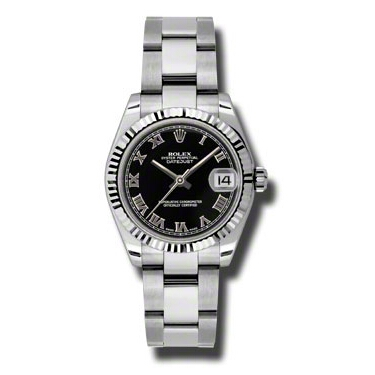 "Image of ""Rolex Datejust Steel and White Gold Black Stick Dial 31mm Watch"""