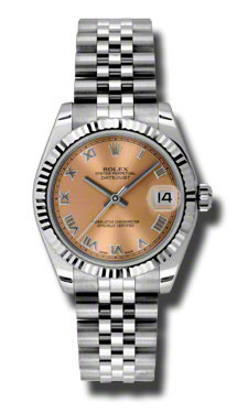 "Image of ""Rolex Datejust Steel and White Gold Pink Roman Dial 31mm Watch"""