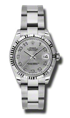 """Image of """"Rolex Datejust Steel and White Gold Silver Diamond Dial 31mm Watch"""""""