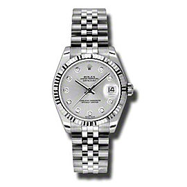 Rolex Datejust Steel and White Gold Silver Diamond Dial 31mm Watch