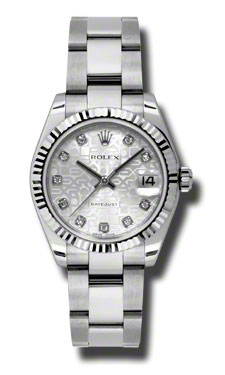 """Image of """"Rolex Datejust Steel and White Gold Silver Roman Dial 31mm Watch"""""""