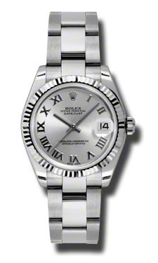 "Image of ""Rolex Datejust Steel and White Gold Silver Stick Dial 31mm Watch"""