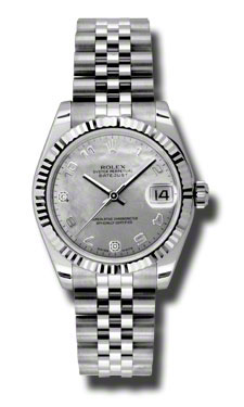 """Image of """"Rolex Datejust Steel and White Gold White Gold Mother of Pearl Arabic"""""""