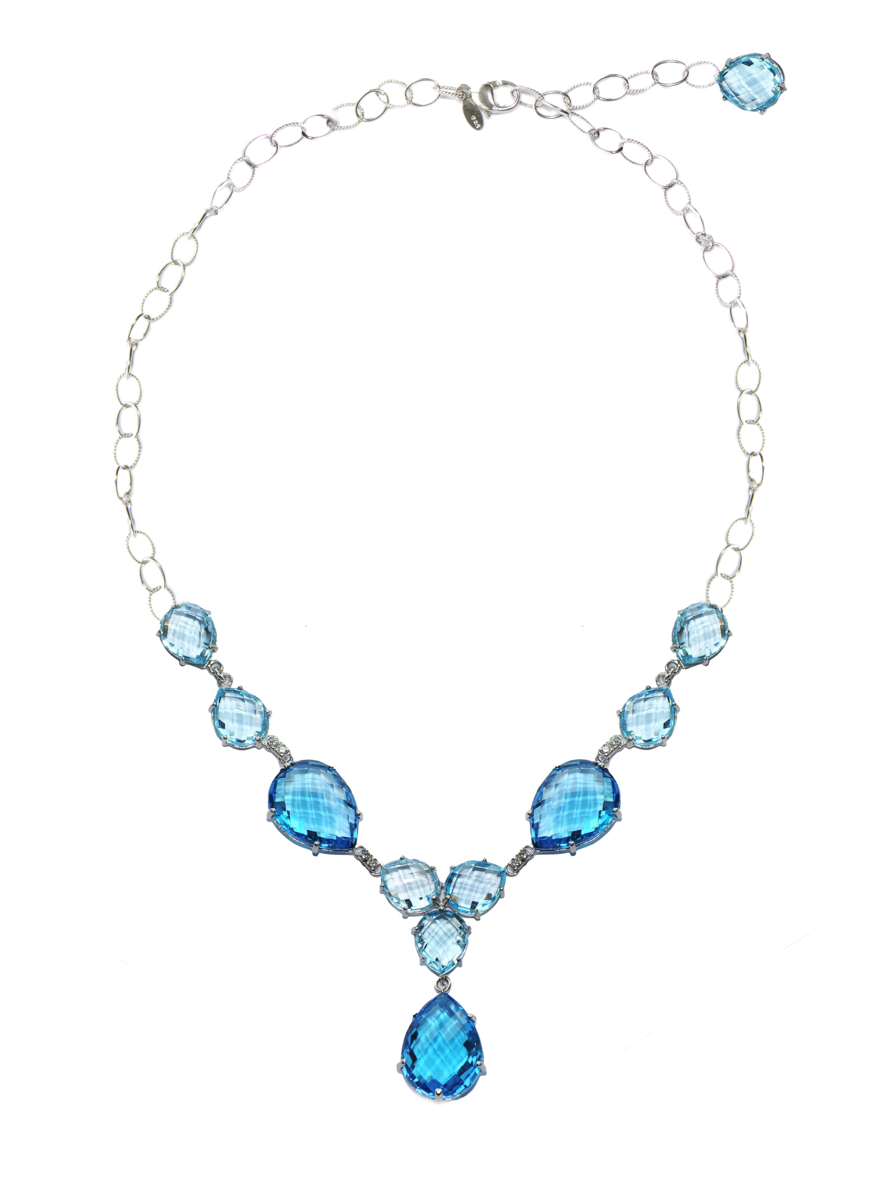 "Image of ""Anzie Sterling Silver Blue Topaz, Swiss Blue Topaz, Diamonds Necklace"""