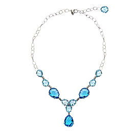 Anzie Sterling Silver Blue Topaz, Swiss Blue Topaz, Diamonds Necklace
