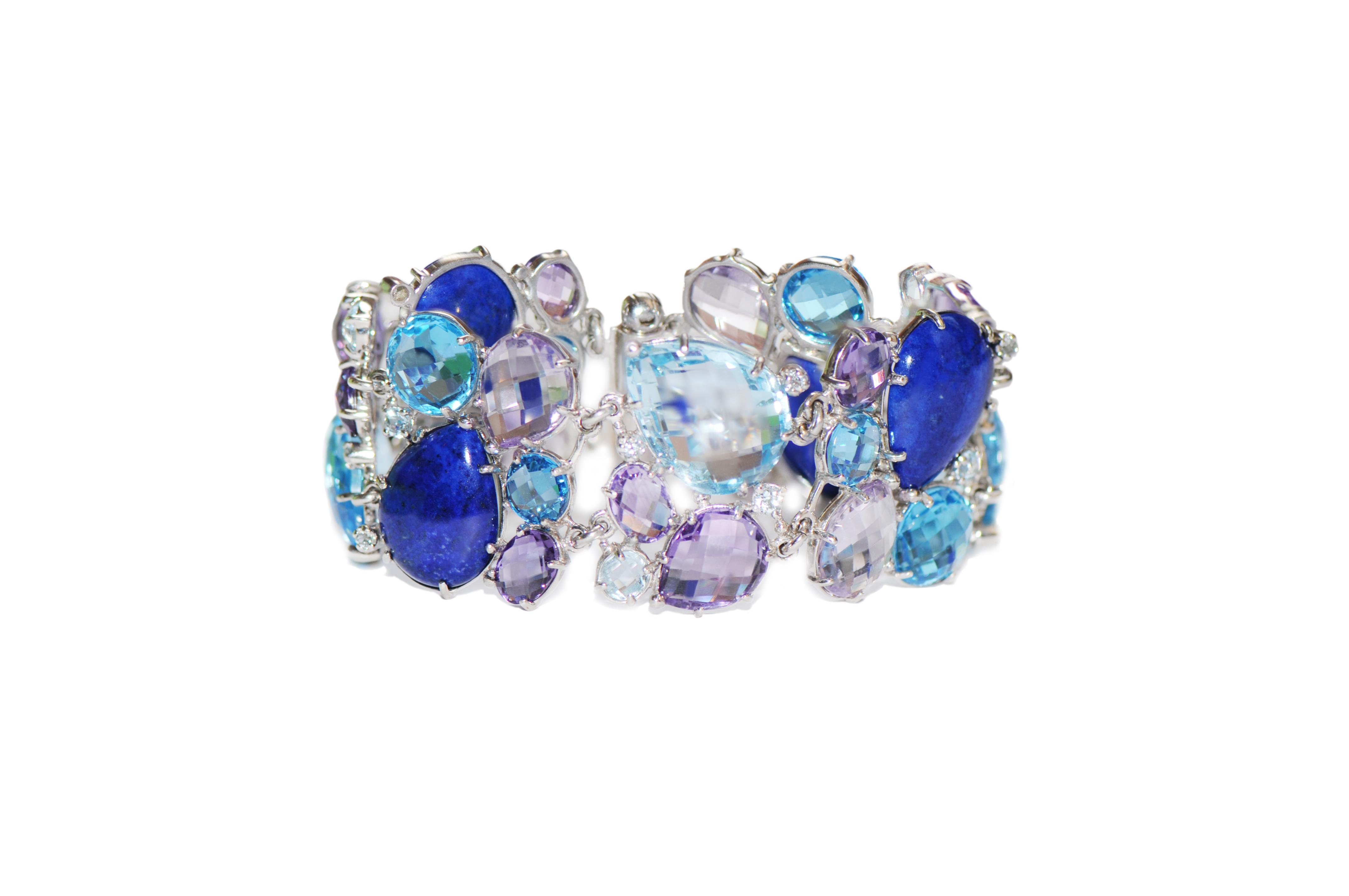 "Image of ""Anzie Sterling Silver Lapis, Blue Topaz, Amethyst Bracelet"""