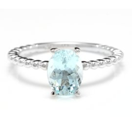 14K White Gold 1ct Natural Aquamarine Ring Size 6.5