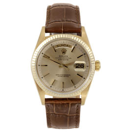 Rolex 18K Yellow Gold Day Date Champagne Stick Dial on Leather Strap Watch