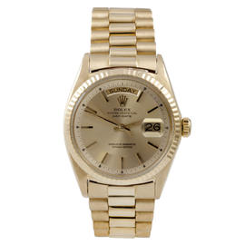 Rolex 18K Yellow Gold Day Date Champagne Stick Dial on Hidden Clasp Bracelet Watch