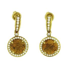 Charles Krypell 18K Yellow Gold Diamond Citrine Dangle Earrings