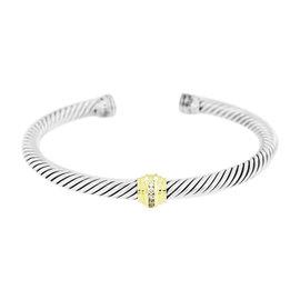 David Yurman Sterling Silver 18K Yellow Gold 0.16ct. Diamonds Cable Classics Bracelet