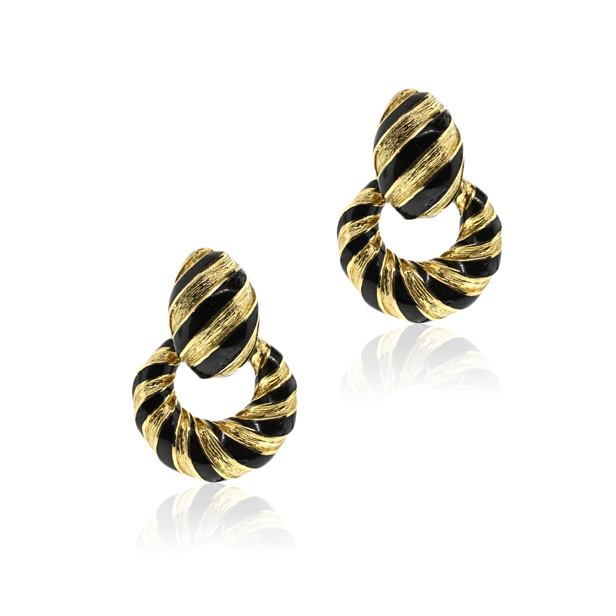 "Image of ""David Webb 18K Yellow Gold and Enamel Striped Door Knocker Earrings"""