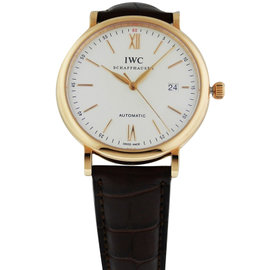 IWC Portofino Automatic 18K Rose Gold Brown Alligator IW356504 Watch