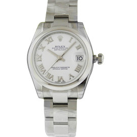 Rolex Datejust 178240 31mm Stainless Steel White Roman Oyster Watch
